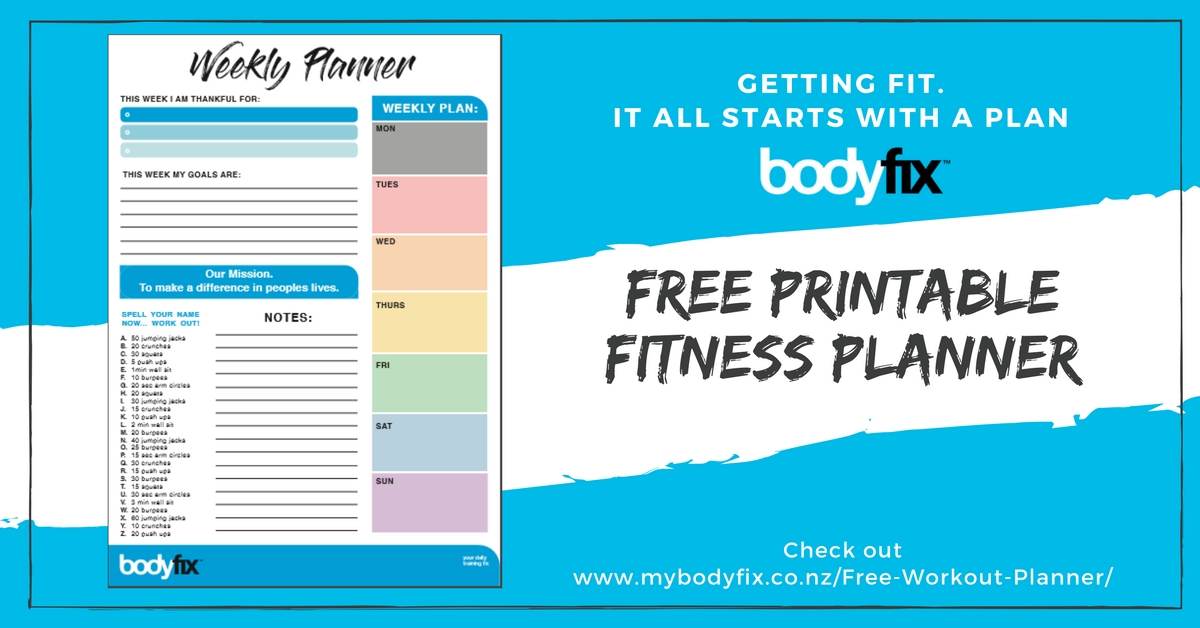 picture relating to Free Printable Fitness Planner named Totally free Printable Weekly Exercise session Planner - Bodyfix Fitness center Christchurch