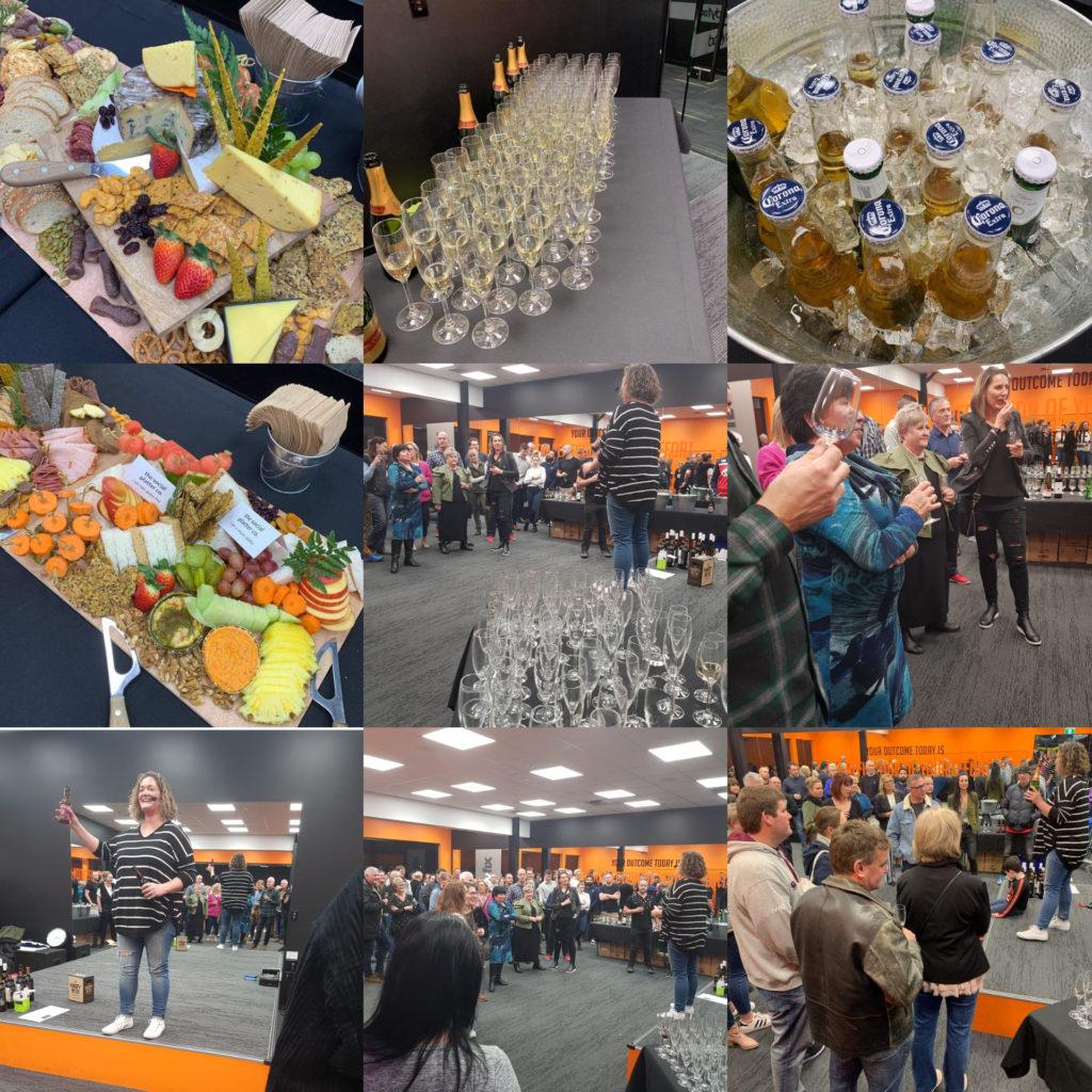 Members wine tasting, food and wine table set ups